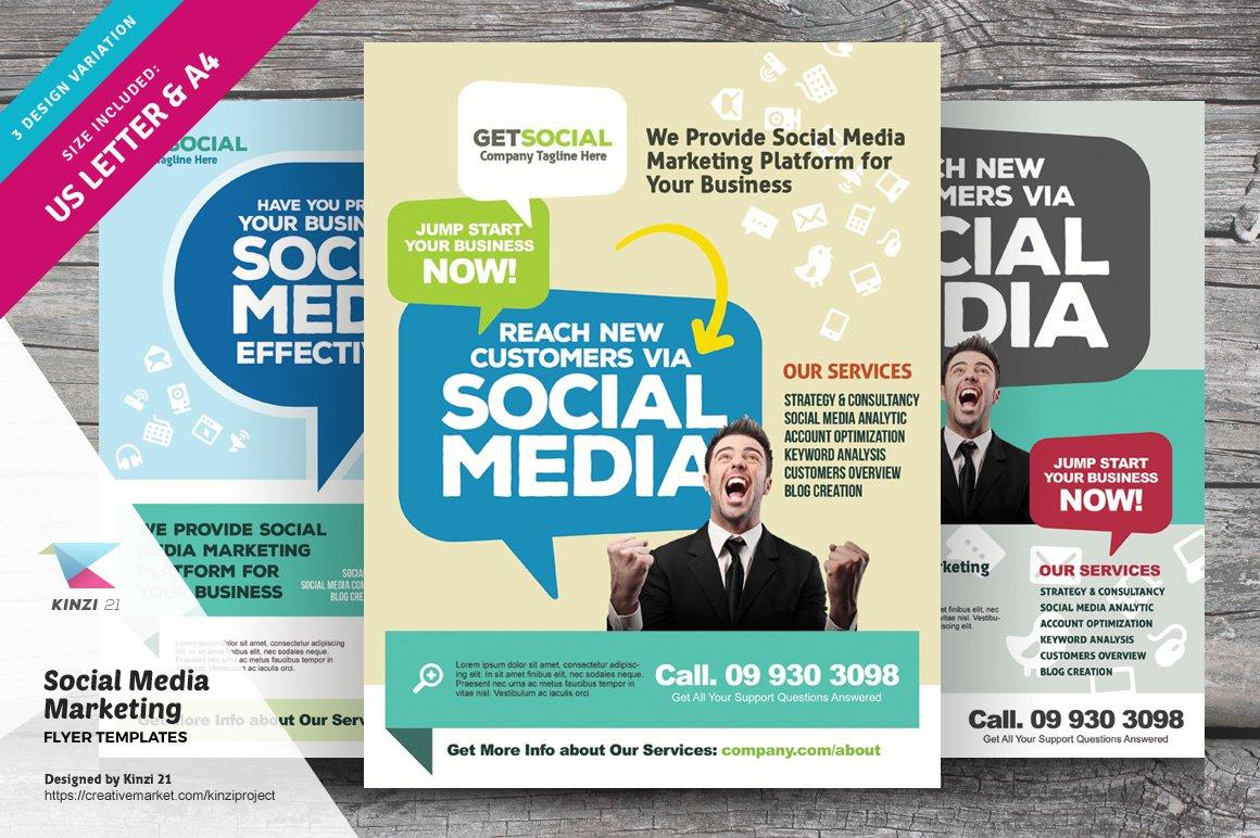 social media marketing flyers flyer templates creative market. Black Bedroom Furniture Sets. Home Design Ideas