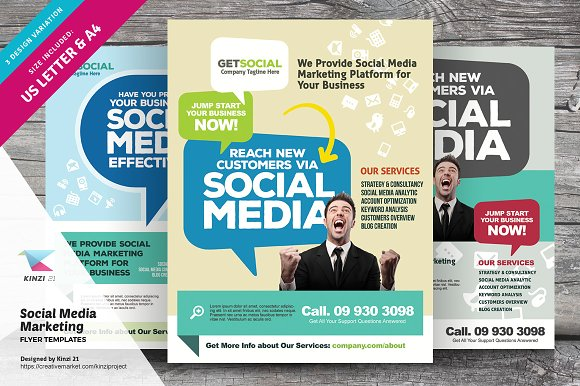 social media marketing flyers flyer templates creative market