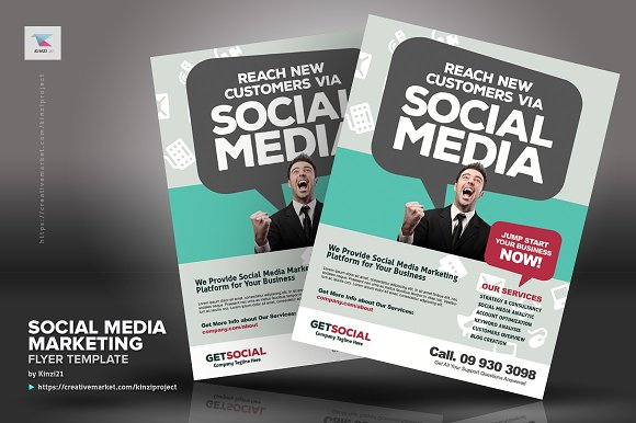 Social Media Marketing Flyers Flyer Templates Creative Market
