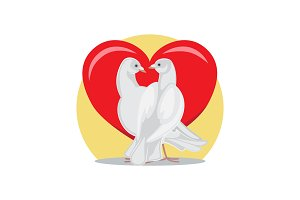 Doves Look at Each Other with Passion at Red Heart