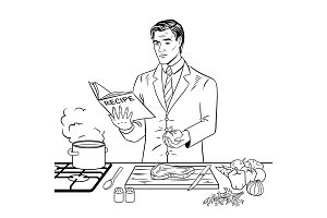Man cooking food coloring book vector