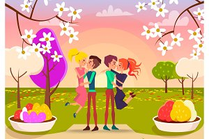 Young Happy Couples in Beautiful Park Illustration