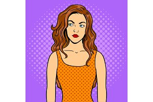 Thoughtful girl pop art vector illustration