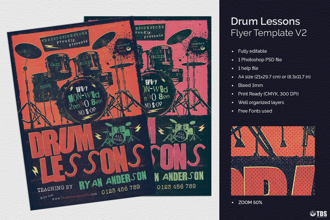 Drum Lessons Flyer Template V2 Flyer Templates