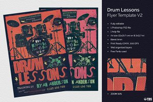 Drum Lessons Flyer Template V2