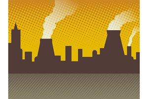 Industrial background bad ecology pop art vector