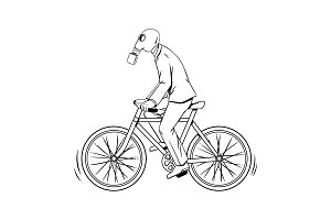 Cycling with bad ecology coloring book vector