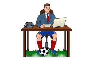 Businessman soccer pop art vector illustration