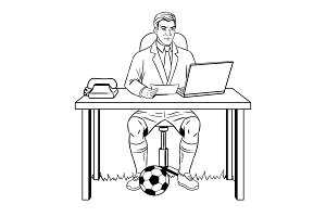 Businessman soccer coloring book vector