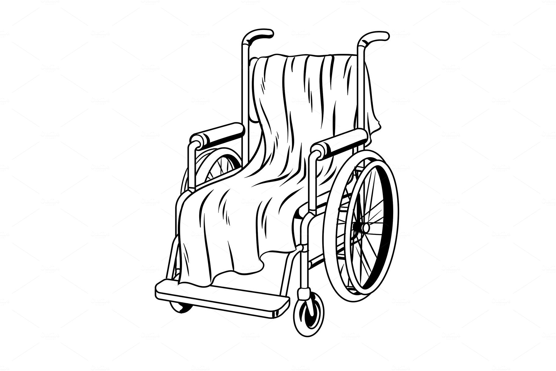 Wheelchair with plaid coloring book vector ~ Graphic