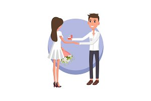 Boyfriend Making Proposal, Vector Illustration