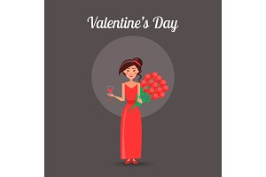 Valentines Day Placard with Woman in Red Dress