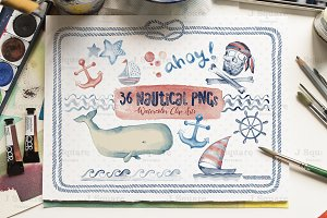 Watercolor Nautical Clip Arts