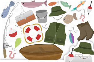 Fishing Cliparts Set