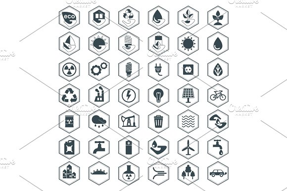 Eco icons set in Graphics