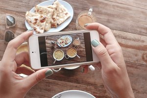 Food photo of indian food on wooden table for social networks