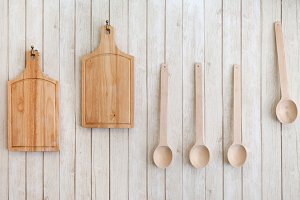 Cutting boards and wooden spoons