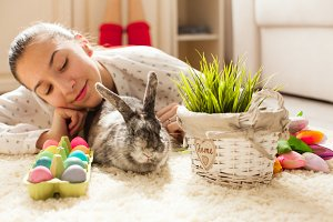 Easter rabbit in home