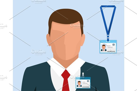 Man In Suit With Red Tie And Id Badge Employees Identification White Blank Plastic Id Cards With Clasp In Flat Style