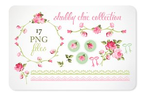 Roses and Lace Design Elements
