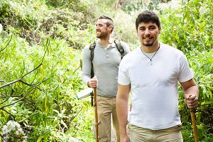 two men hiking