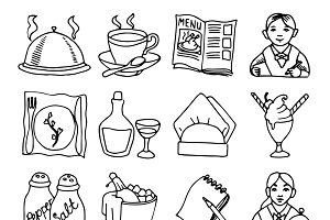 Restaurant sketch icons set