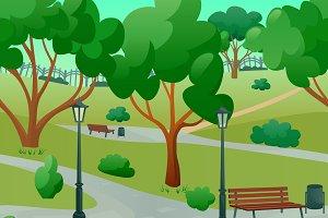 Summer park landscape background