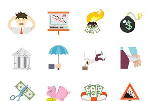 Economic crisis flat icons set