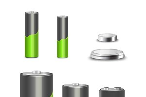 Realistic battery types icons set