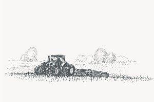Tractor in field illustration.