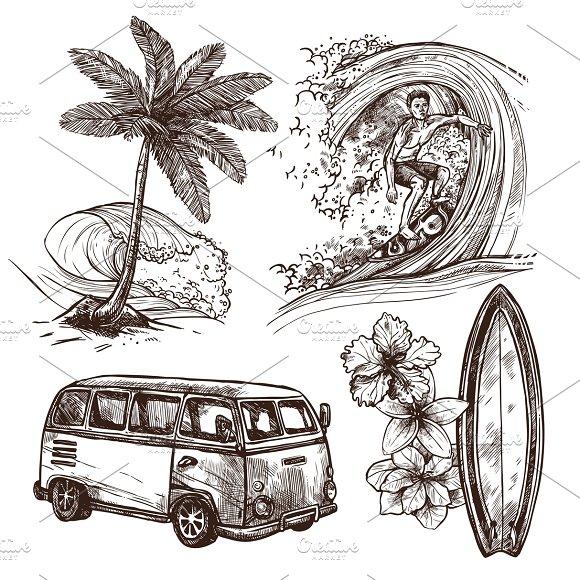 Surfing Sketch Decorative Set