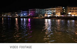 Illuminated waterfront buildings