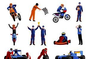 Race and rally icons set
