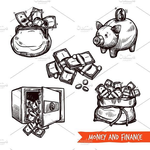 Hand Drawn Finance Symbols Set