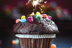 Funny Chocolate Muffin with sparkler