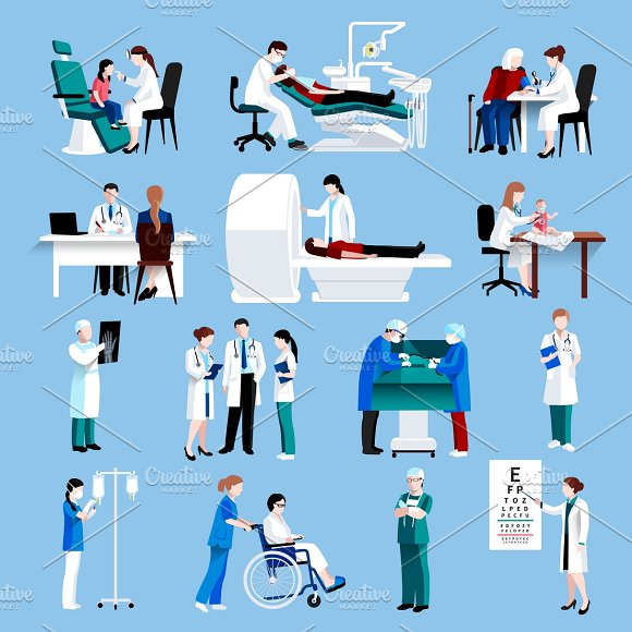 Medical care people flat icons set