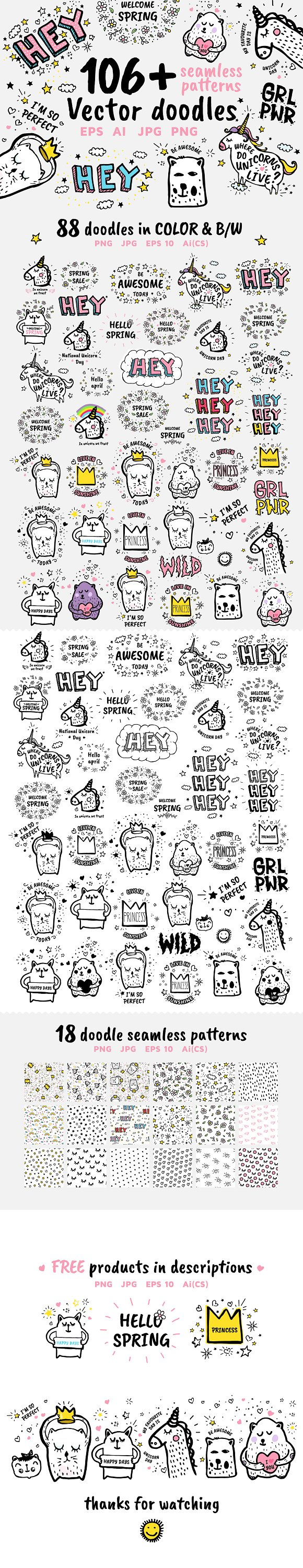 106 Vector Doodles Patterns FREE