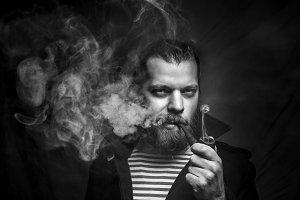 Sailor Man With Beard Smoking