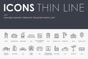 City thinline icons