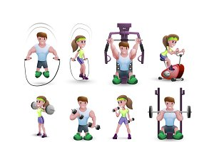 Cartoon icons of fitness characters