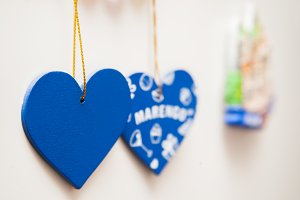 blue heart shape holiday photo as background