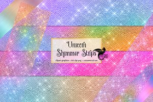 Unicorn Shimmer Strips Clipart