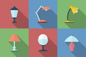 Icon set of 9 Lamps.