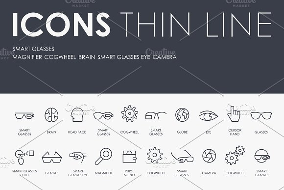 Smart Glasses Thinline Icons