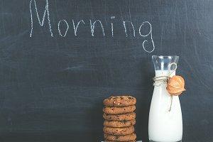 Jug of fresh milk and cookies