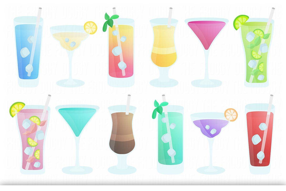 Party cocktail. Drinks clipart set