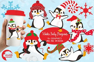 Winter Penguins Clipart AMB-307
