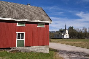 Red painted shed in Norway