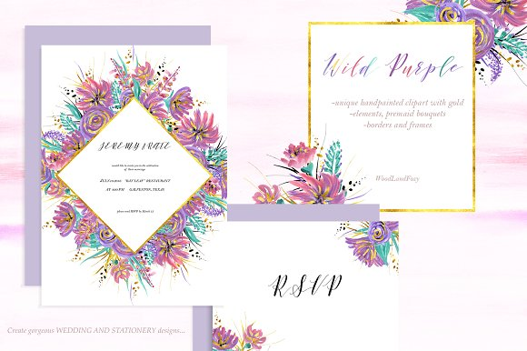 Wild Purple Wedding Invites Clipart Invitation Templates