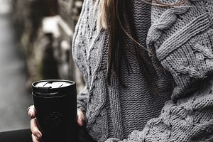 Girl with coffee, street style